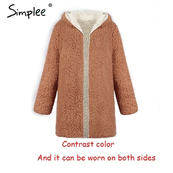 Simplee Faux lambswool thick women jacket coat plus size Winter warm hairly jacket Women autumn outerwear female overcoat