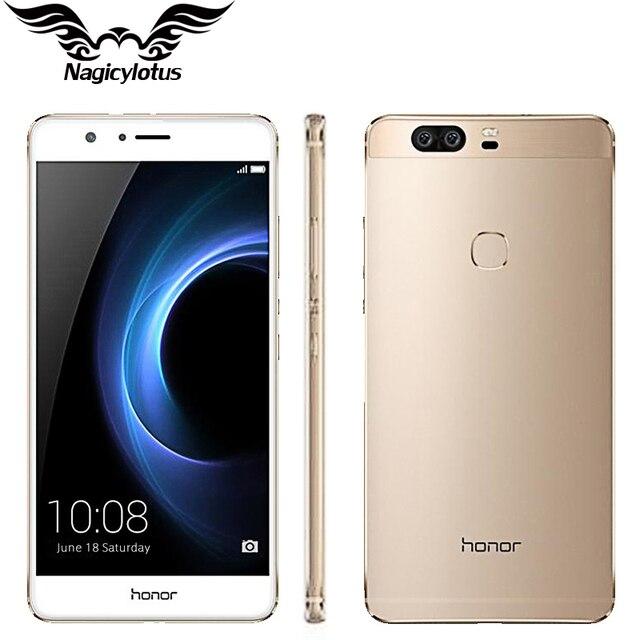 Оригинал HUAWEI HONOR V8 4G LTE Мобильный Телефон 4 ГБ RAM 64 Г ROM 5.7 дюймов Android 6.0 Кирин 950 Octa Core Dual Задняя 12.0MP 3 камера