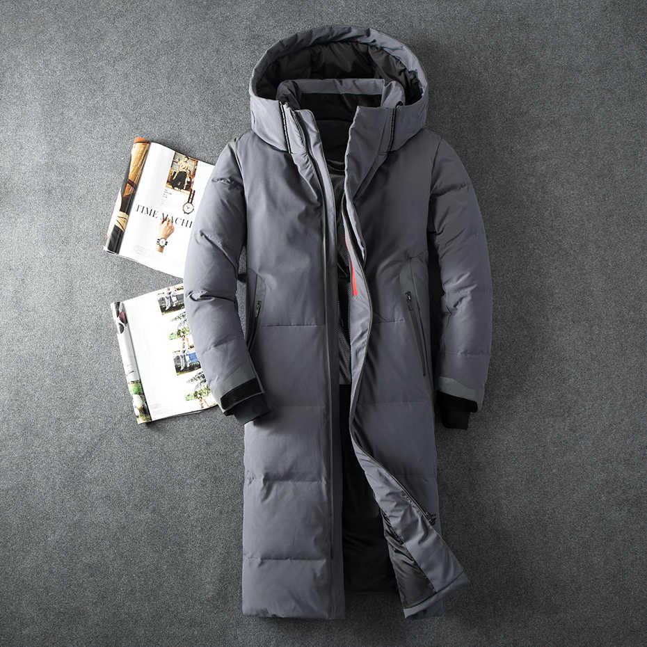 Chaqueta de invierno de marca Asesmay para hombre, Chaqueta larga de plumón de pato de color blanco, abrigo de plumas de ganso, chaquetas casuales gruesas para hombre