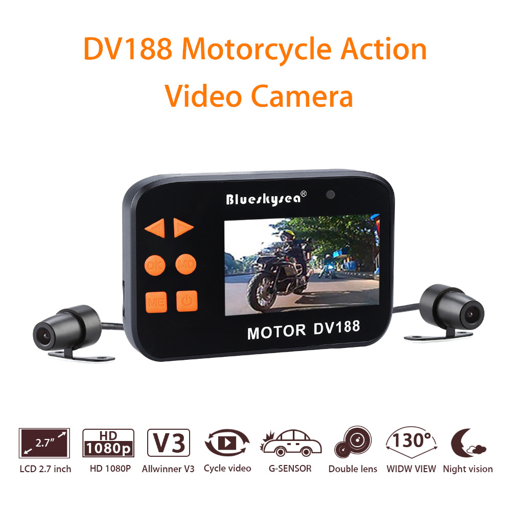 Blueskysea DV188 Action Sports Camera Video DVR Bike Motorcycle Car Vehicle Cam 1080P Waterproof Dual Lens Dashcamera Camcorder tartan