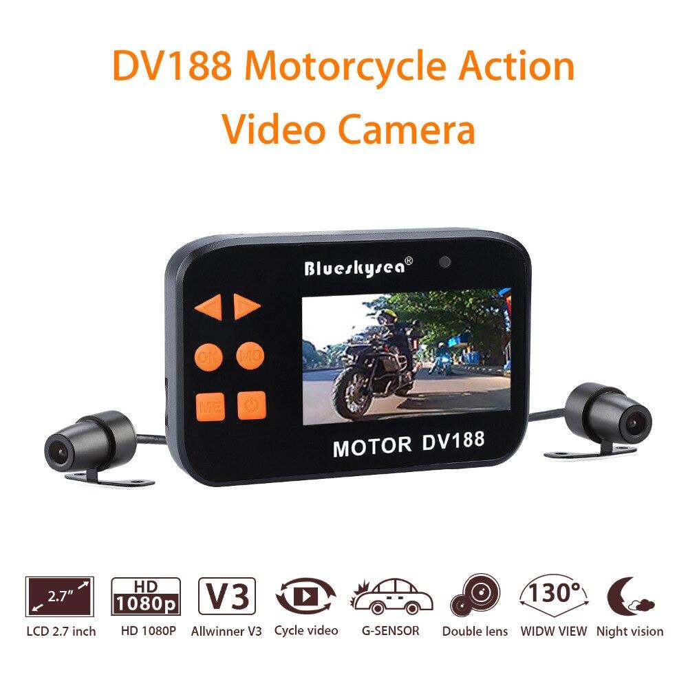 Blueskysea DV188 Action Sports Caméra 1080 P Vidéo DVR Étanche Vélo Moto Voiture Véhicule Cam Double Objectif Dash caméra Caméscope