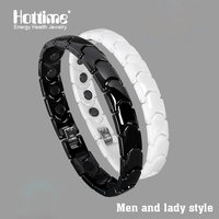 Hottime Black And White Bio Energy Ceramic Bracelet Bangle Lovers Magnetic Germanium Health Chain Charms Women