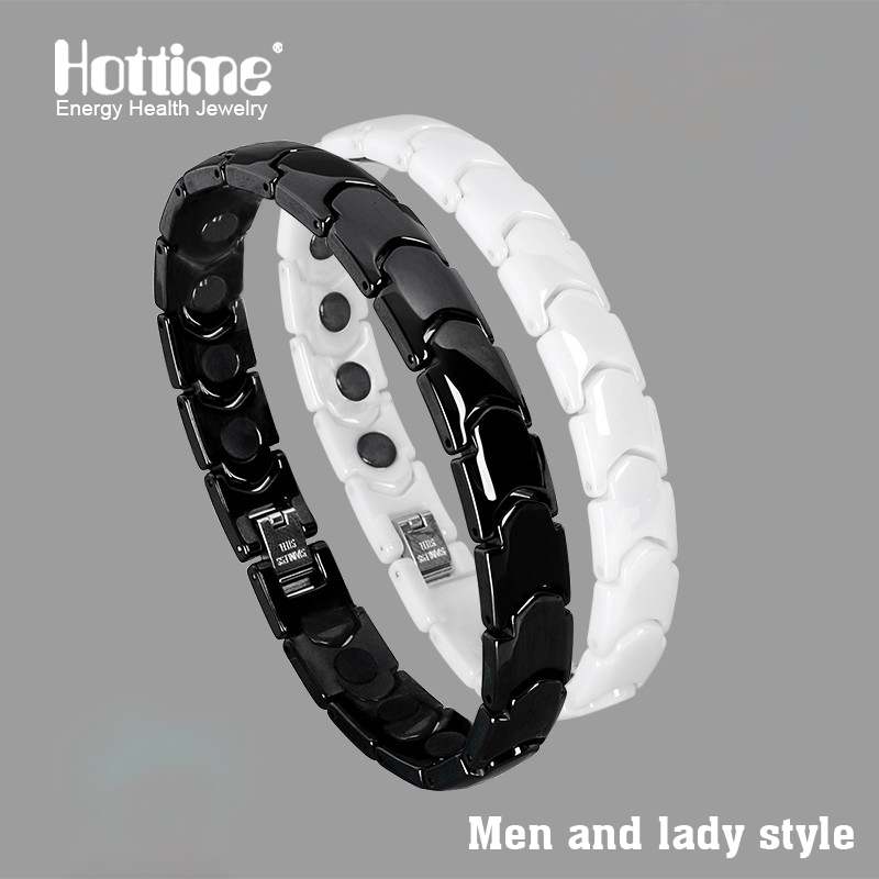 все цены на Hottime Black White Bio Elements Energy Ceramic Bracelet Bangle Lovers Magnetic Germanium Health Chain Charms Women Men Jewelry