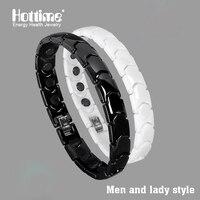 Hottime Black And White Bio Energy Ceramic Bracelet Bangle Lovers Magnetic Germanium Health Chain Charms Women