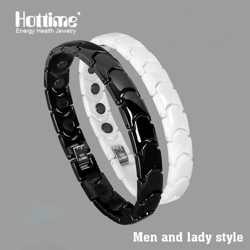Hottime Black White Bio Elements Energy Ceramic Bracelet Bangle Lovers Magnetic Germanium...