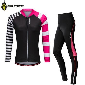 WOSAWE cycling jersey sets women sports mtb mountain bike jersey+trousers set ropa ciclismo bicycles long-sleeved fleece sets