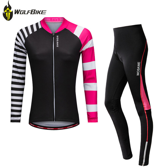 WOSAWE cycling jersey sets women sports mtb mountain bike jersey+trousers  set ropa ciclismo bicycles long-sleeved fleece sets d1827d899
