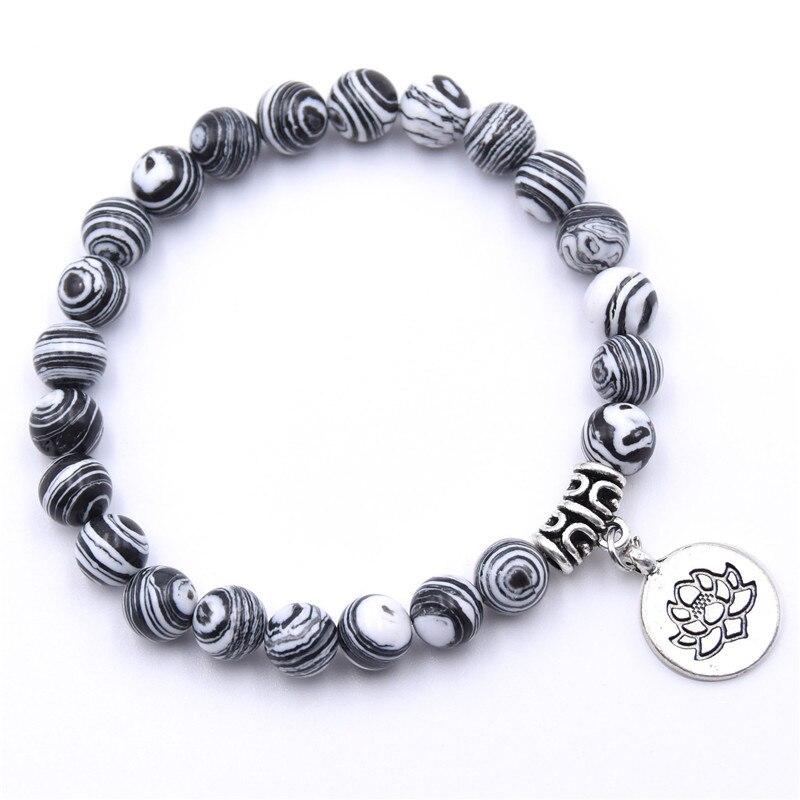 Natural Stone Lotus Buddha Beads Bracelet Matte Amazonite Mala Beads bracelets bangles For Women Men Yoga bracelet femme homme 14