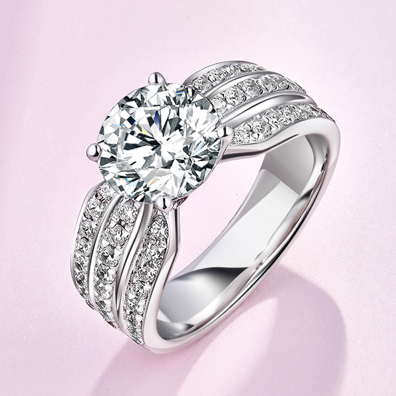 925 Silver Ring Engagement Rings 4 Prongs Setting 3 Row Cubic Zirconia Anel Jewelry For Women Love Bague Anillos Mujer