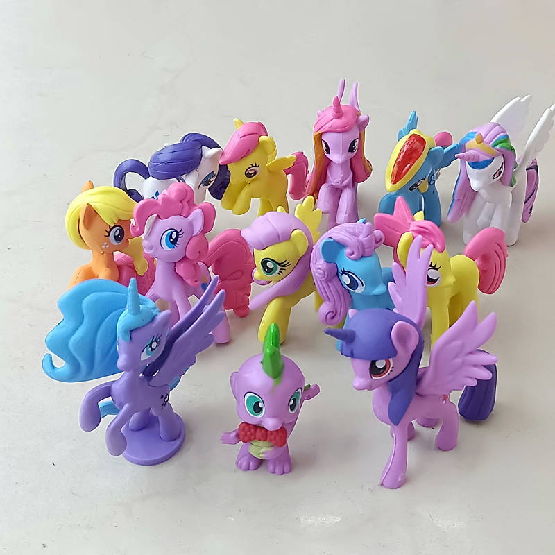 13Pcs set My Pony Action Figures cute horse Garage kits Toys PVC Dolls Birthday cake decoration childrens gift in Action Toy Figures from Toys Hobbies