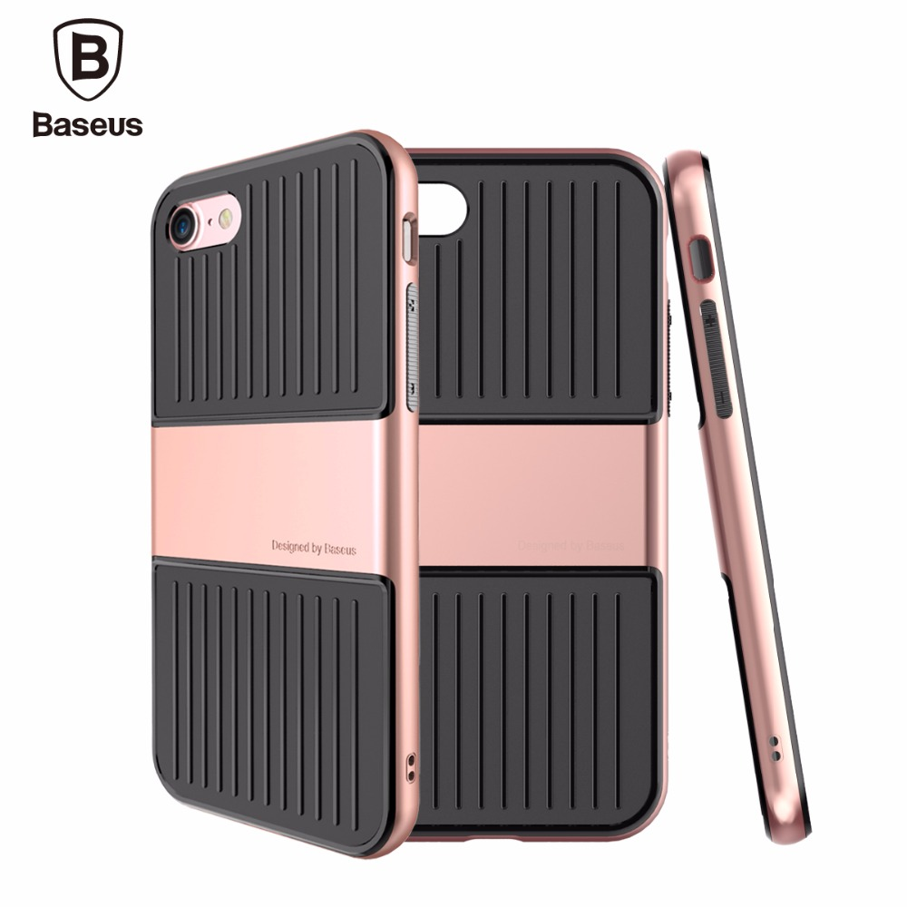 imágenes para Cubierta para apple iphone 7/7 plus case original baseus viajes serie de la manera tpu + pc frame case para iphone 7 plus a prueba de golpes
