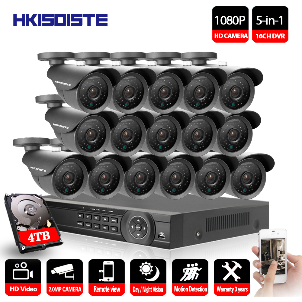 16CH AHD DVR 16Pcs 2.0MP 1080P Camera Security Surveillance CCTV System Outdoor Waterproof IR Night Vision HD Kit 16CH AHD 1080P home security system 16ch h 264 motion detect camera system dvr kit with 800tvl waterproof outdoor ir night vision cctv camera