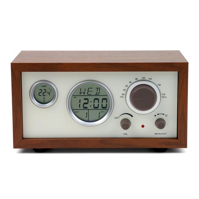 Radioddity SY-601 Caso De Madera Clásica Mesa FM Receptor de Radio de Múltiples Funciones