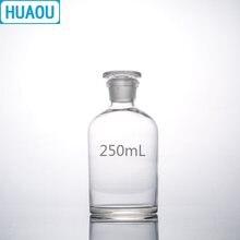 Huaou garrafa reagente boca estreita, 250ml, vidro transparente, com chão, rolha de vidro, equipamentos de química de laboratório