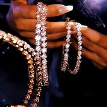 26d0d0688 Fashion Trendy Stunning Glass Rhinestone Gems Hoop Earrings For Women  Jewelry Fashion Statement Earrings Accessories Hot
