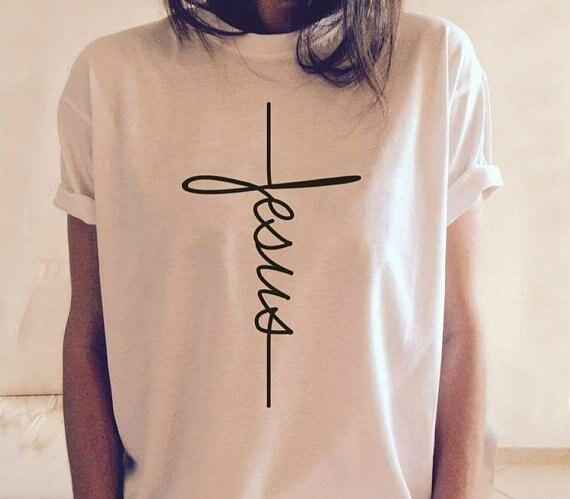 Gesù T-Shirt Christian T Donne Della Camicia di Modo Più Il Formato Harajuku Streetwear Tee Magliette e camicette Grafici Tumblr Vestiti