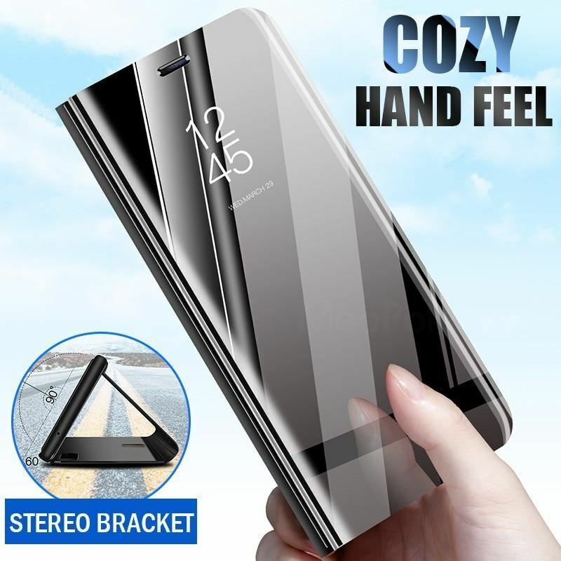 Case For Sony Xperia 1 5 XZ3 Case Mirror Smart Clear View PU Leather Kickstand Flip Cover For Sony Xperia XZ3 Xperia 5 1 Case-in Flip Cases from Cellphones & Telecommunications
