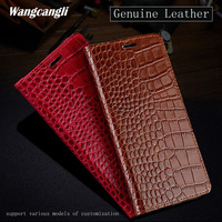 JUNDONG Crocodile Texture phone case for xiaomi 8 All Hand made Genuine Leather Flip Phone Case for xiaomi 6 a1 a2 mix2 max3
