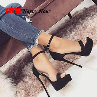 Woman Summer Shoes Women Platform Shoes Sexy Ladies High Heels Sandalias Super High Heeled Black Rome Party Shoes YX665
