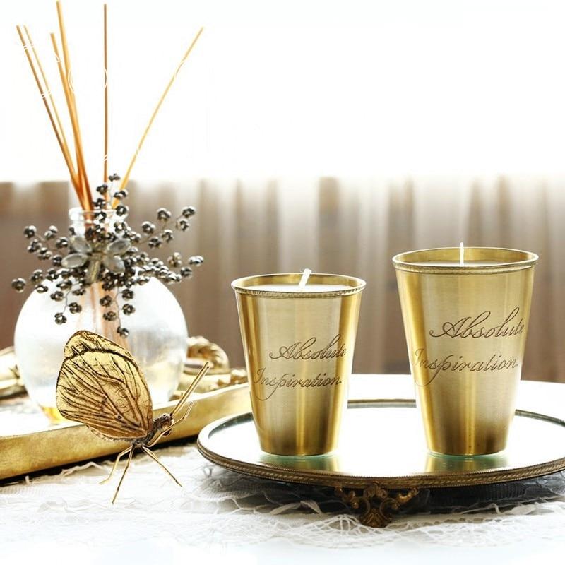 Cocostyles rétro de luxe d'or en laiton tasse avec gravure artisanat pour classique de mariage bougies décoration de la maison accessoires