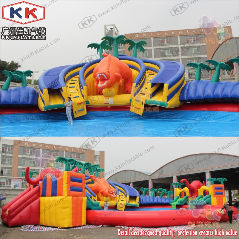 Cheap Giant Inflatable Games Inflatable Mobile Water Play Park Slide In Outdoor