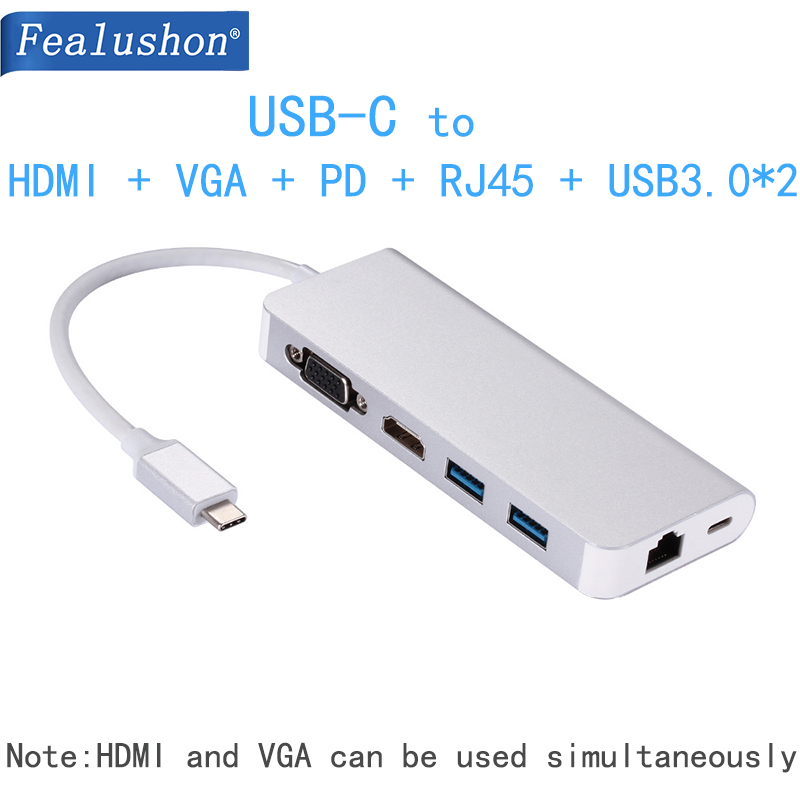Docking Station with Type C Plug HDMI RJ45 USB Power Delivery Hub for Laptop Macbook Pro