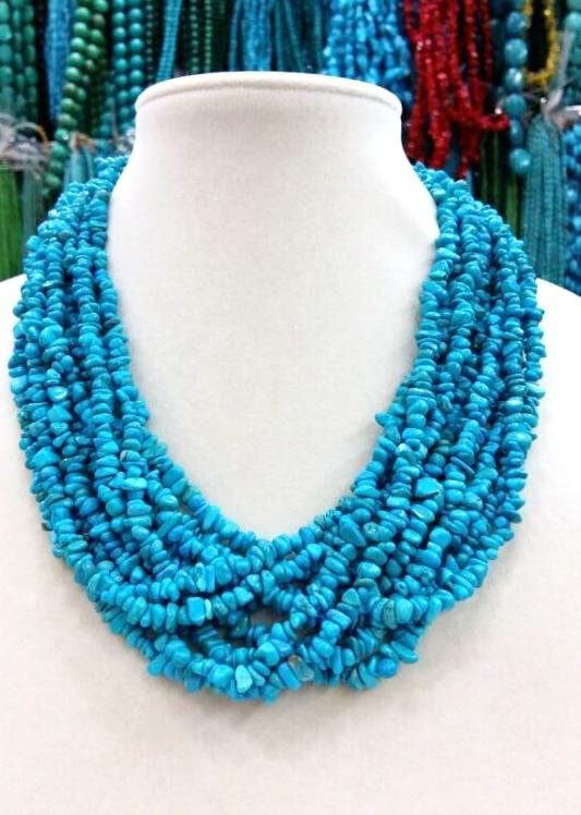 Collier Howlite en pierre bleue multicouche à la mode collier ras du cou 10 couches bijoux femme en pierre exagérée