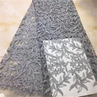 African Lace Fabric Gray Color Embroidery Nigerian Beads Lace Fabric.High Quality Sequins French Tulle Lace Fabric For Dress