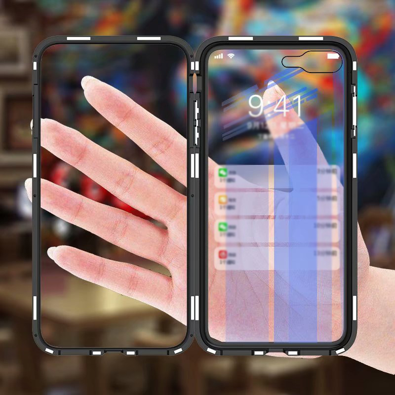 Luxury 360 Magnetic Adsorption Flip Phone Cover Case for iPhone XS MAX XR PC Border Transparent Tempered Glass Back Cover iphone xr case magnetic