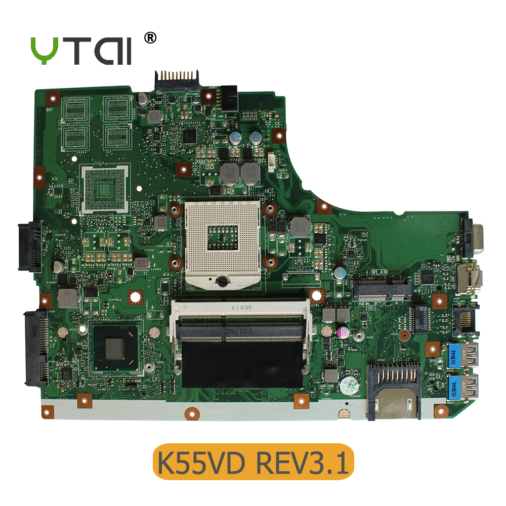 YTAI K55VD REV:3.1 Mianboard For Asus K55VD K55A Laptop Motherboard HM76 Integrated Graphic card 2 DDR3 USB3.0 mainboard