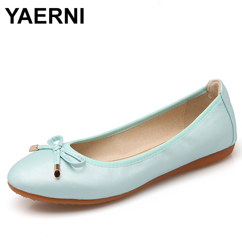 YAERNI Women Foldable Ballet Flats Portable Travel Fold Up Shoes Woman Round Toe Bowknot Slip On Casual Shoes For Spring Autumn