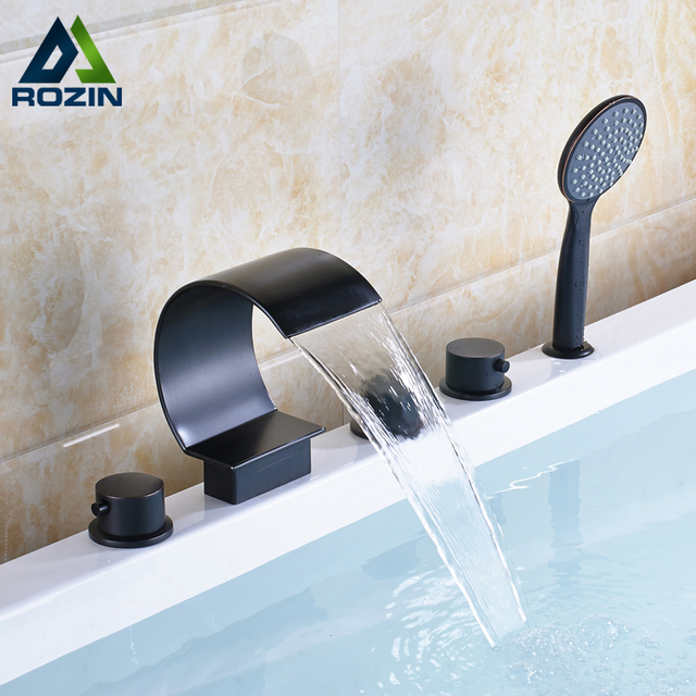 Luxury Deck Mounted Waterfall Brass Bathtub Faucet 5pc Widespread