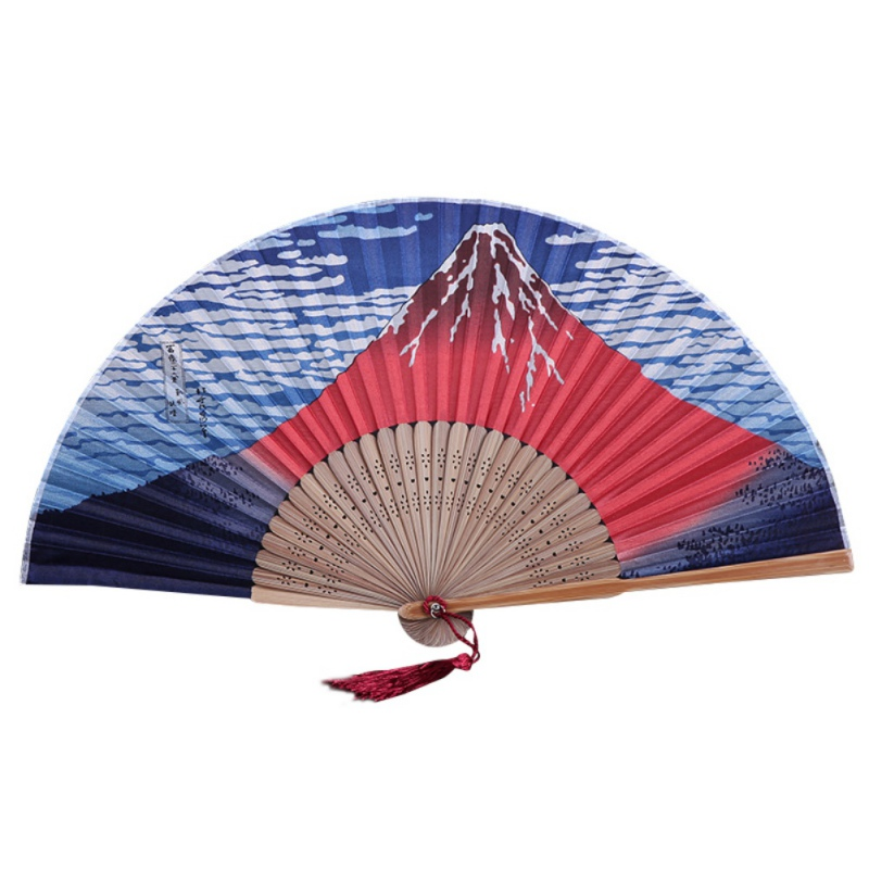 Japanese Style Decorative Handheld Folding Fan With Tassels Bamboo Ribs Home Decorations Stage Props Fujiyama/Kanagawa Sea Waves(China)