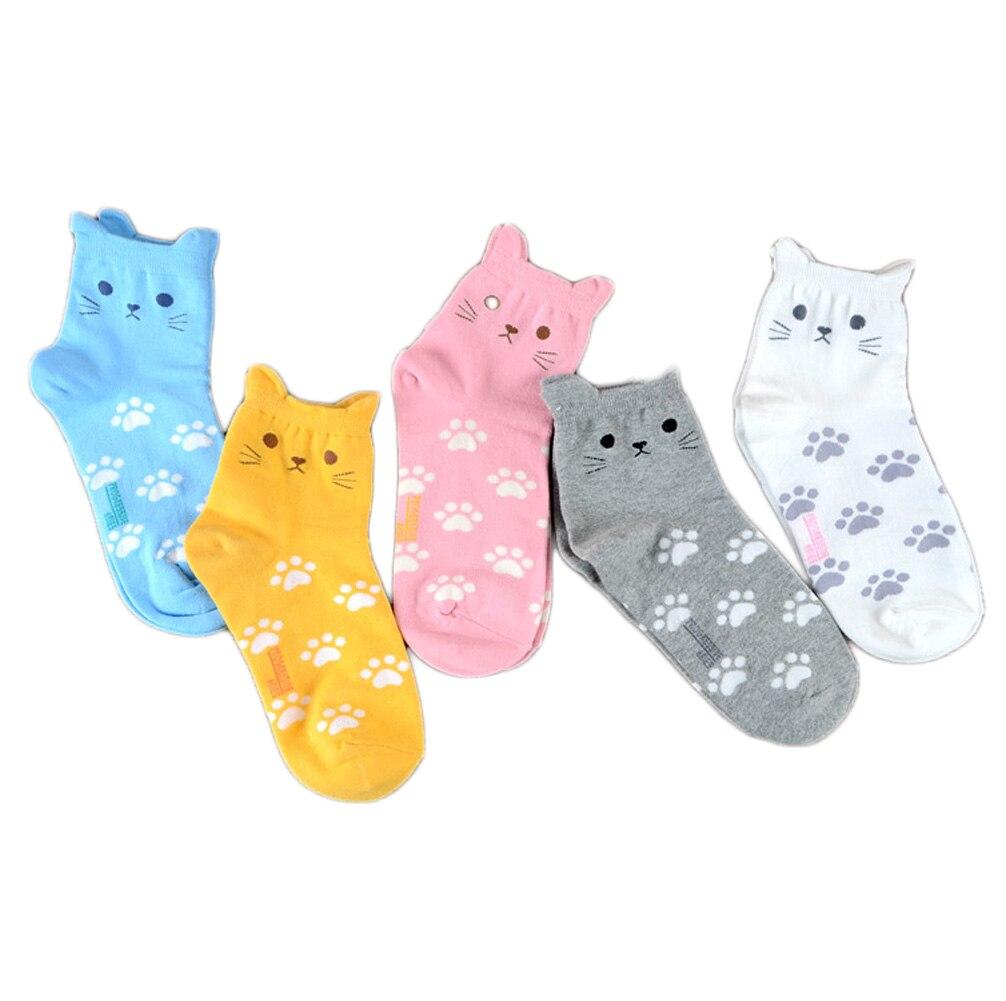 FancyQube New 2017 Cat Footprints Cotton Socks  Harajuku Women Cartoon 3D Animal Striped Socks Novelty Patterned  Colorful Sock
