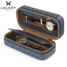 Caja de rejillas para relojes LELADY 2, caja de almacenamiento para reloj de cuero PU de alta calidad, Organizador Profesional para reloj
