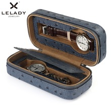 LELADY 2 Grids Box for Watches High Quality PU Leather Storage Watch Box Case Professional Holder Organizer for Clock Watches