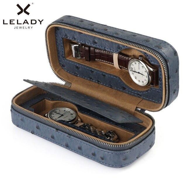 LELADY 2 redes caja para Relojes de Cuero de la PU de la alta calidad de caja de reloj caso profesional organizador para relojes reloj