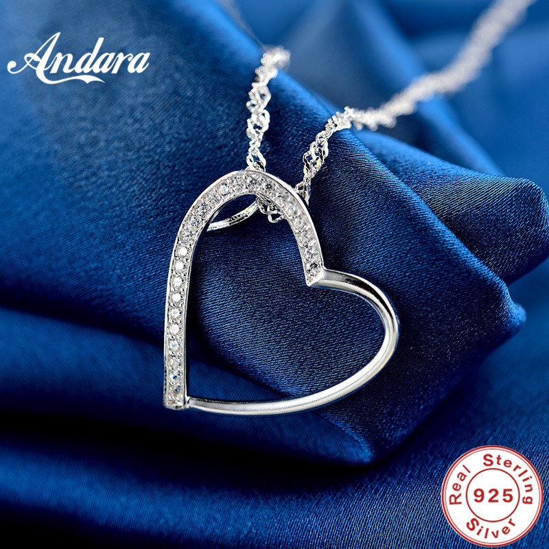 <font><b>ANDARA</b></font> Genuine 925 Sterling Silver Forever Love Openwork Heart Shape Pendant Necklaces for Women Luxury Jewelry Gift image