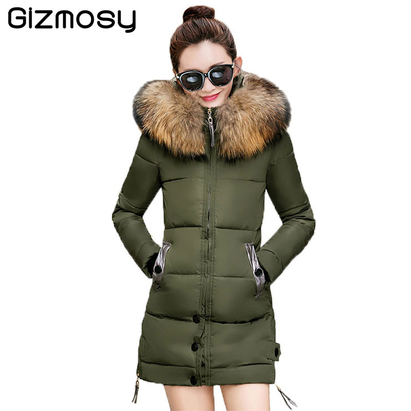 Jacket Women Winter Plus Size Parka Fur Collar Hooded Jacket Female Thicken Coat Long Cotton-Padded Warm Casual Outwear BN953 winter cotton outerwear women super fur hooded wadded jacket female medium long padded coat thicken slim parka plus size