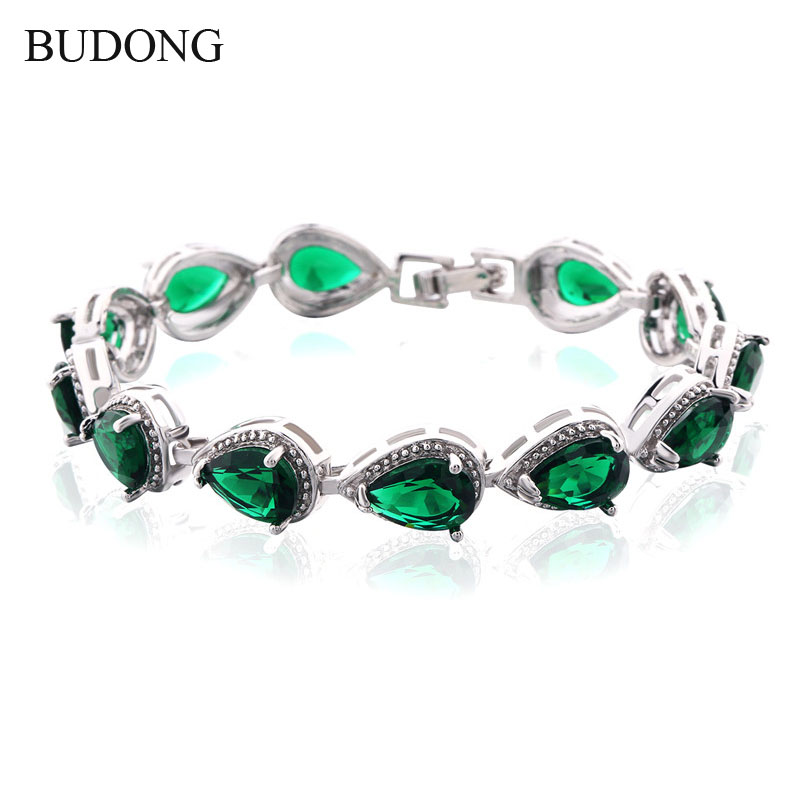BUDONG Luxury Green/Red/Blue/<font><b>Multicolored</b></font> Teardrop Crystal <font><b>CZ</b></font> <font><b>Bracelet</b></font> for Women Gold Plated Bangle Jewelry L174