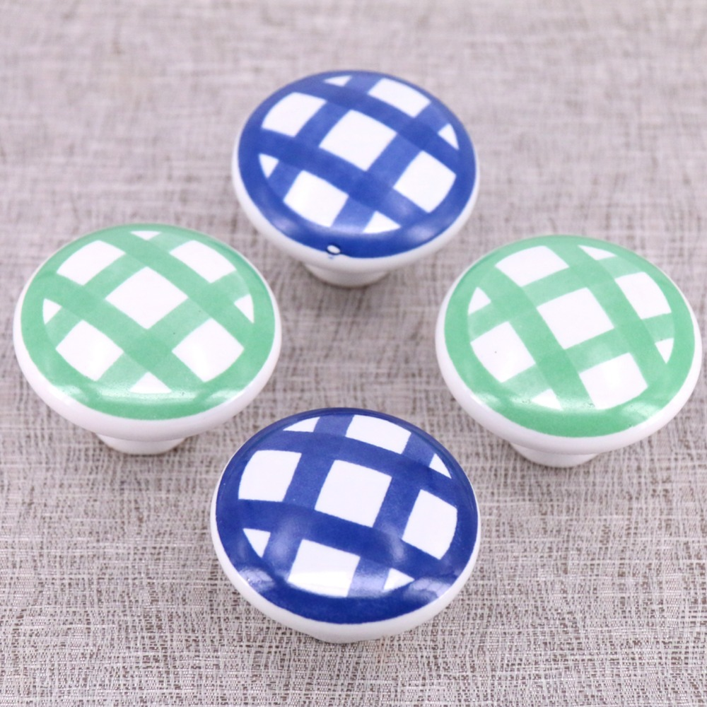 Cabinet Pulls 8pcs 38mm Red Green Bue Yellow Plaid Printed Ceramic Knobs Bedroom Kitchen Door Cabinet Cupboard Knob Pull Drawers Handle