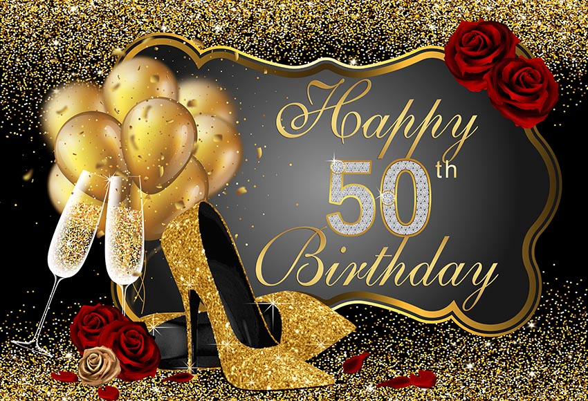 Elegant Gold and Black 50th Birthday Banner Party Backdrop