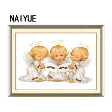 New 5d diy diamond painting cross stitch three christmas angel wall sticker painting diamond mosaic diamond embroidery(China)