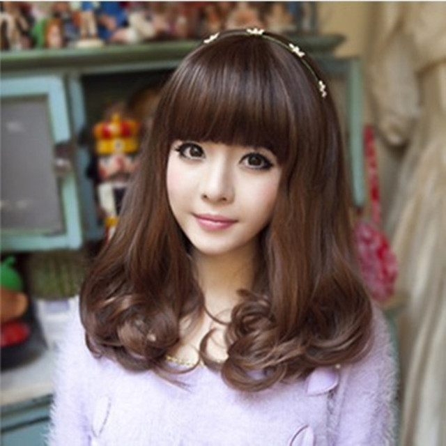 Medium Length Curly Hairstyles With Bangs Short Hair Neat Bang Pear