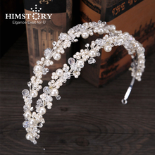 HIMSTORY Handmade Rhinestone Pearl Princess Hairband Bridal Girls Hairwear Double Layers Crystal Headdress Hair Accessory