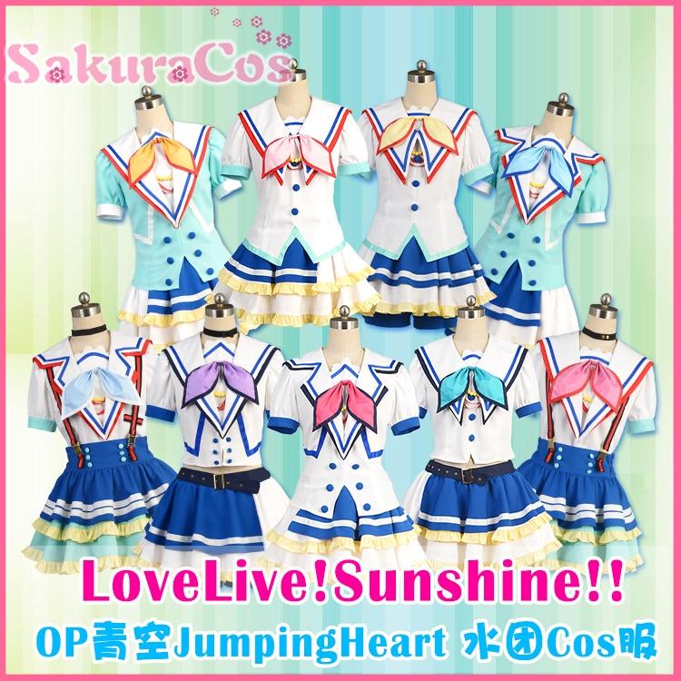 Aqours Love Live Sunshine Jumping Heart All Member Kurosawa Dia Kurosawa Ruby Watanabe You Cosplay Costume