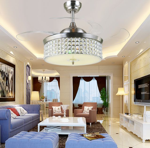 LED Fan Light Ceiling Fans Crystal With Remote Control Simple Stylish  Modern Living Room Dining Room