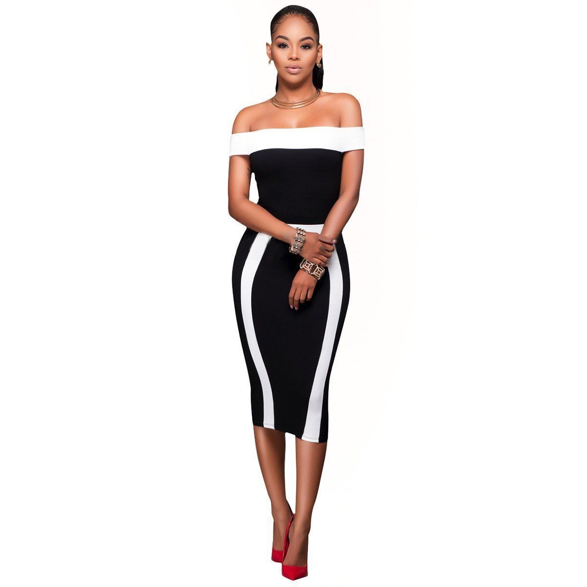 6835c00f65 Off Shoulder Bodycon Dress Women Clothes Clothing Dresses Casual Bandage  short Sleeve Party Fashion Women