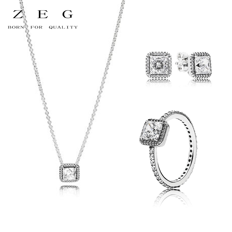 цена на ZEG High Quality 100% Sliver Official Copy 1:1 Pan & Eternal Grace Necklace Ring Have Logo Women Fashion Jewerly Free Mail