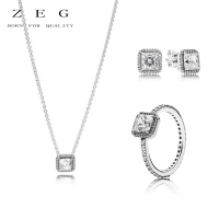 ZEG High Quality 100% Sliver Official Copy 1:1 Pan & Eternal Grace Necklace Ring Have Logo Women Fashion Jewerly Free Mail